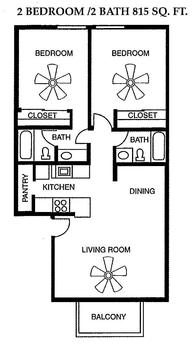 2 Bed 2 Bath 815 square feet floor plan