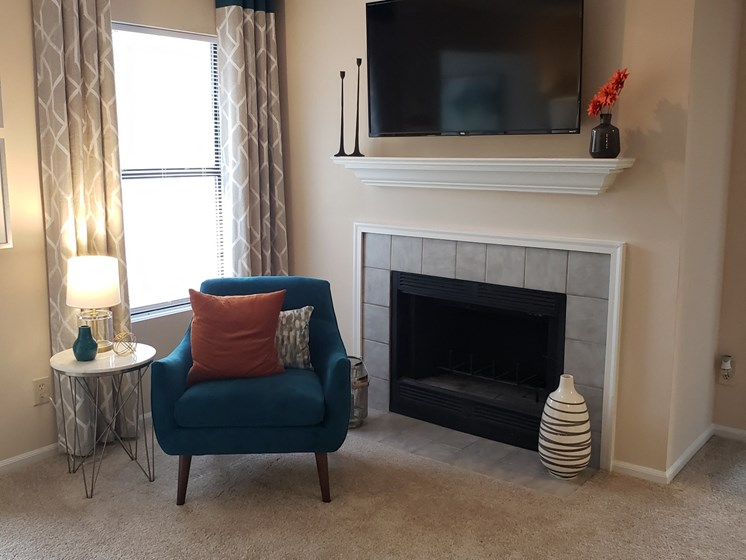 Living Room Remodel With Fireplace & Television at Brook Valley Apartments, Douglasville, GA, 30135