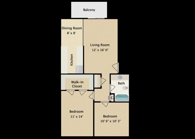 Aya 2 Bedroom 1 Bath Floor Plan