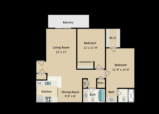 AYA 2 Bedroom 2 Bath Floor Plan
