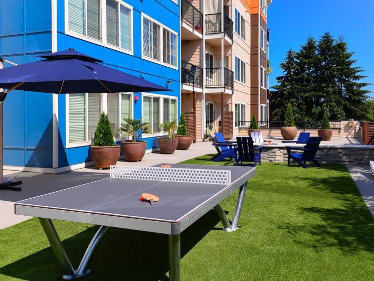 outdoor social area with ping pong table