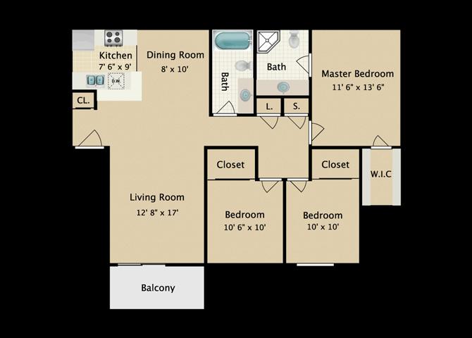 AYA 3 Bedroom 2 Bath Floor Plan