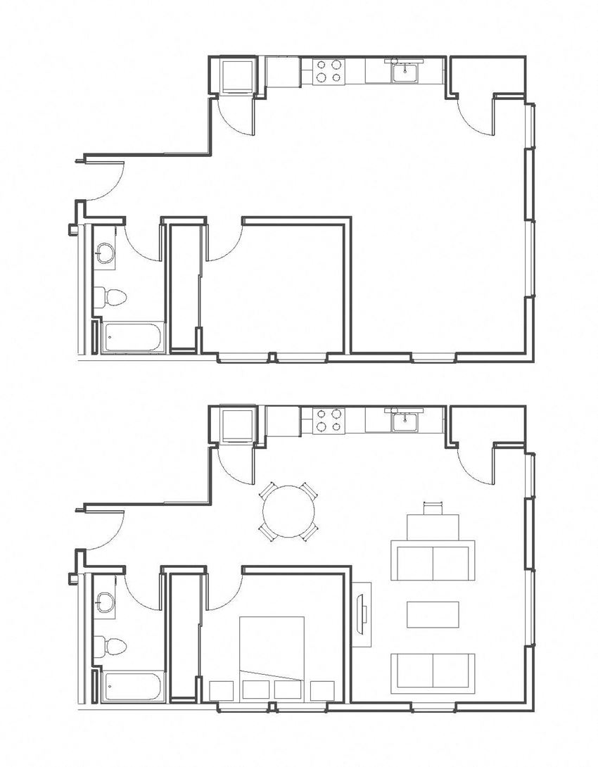 1 Bed - 1 Bath 765 sq ft floorplan