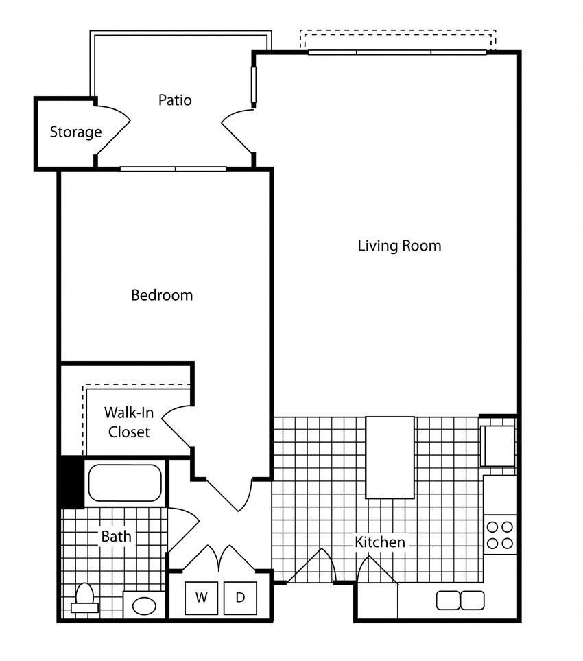 1 Bed - 1 Bath 736 sq ft Floor Plan at Bella Terra Apartments, Mukilteo, 98275