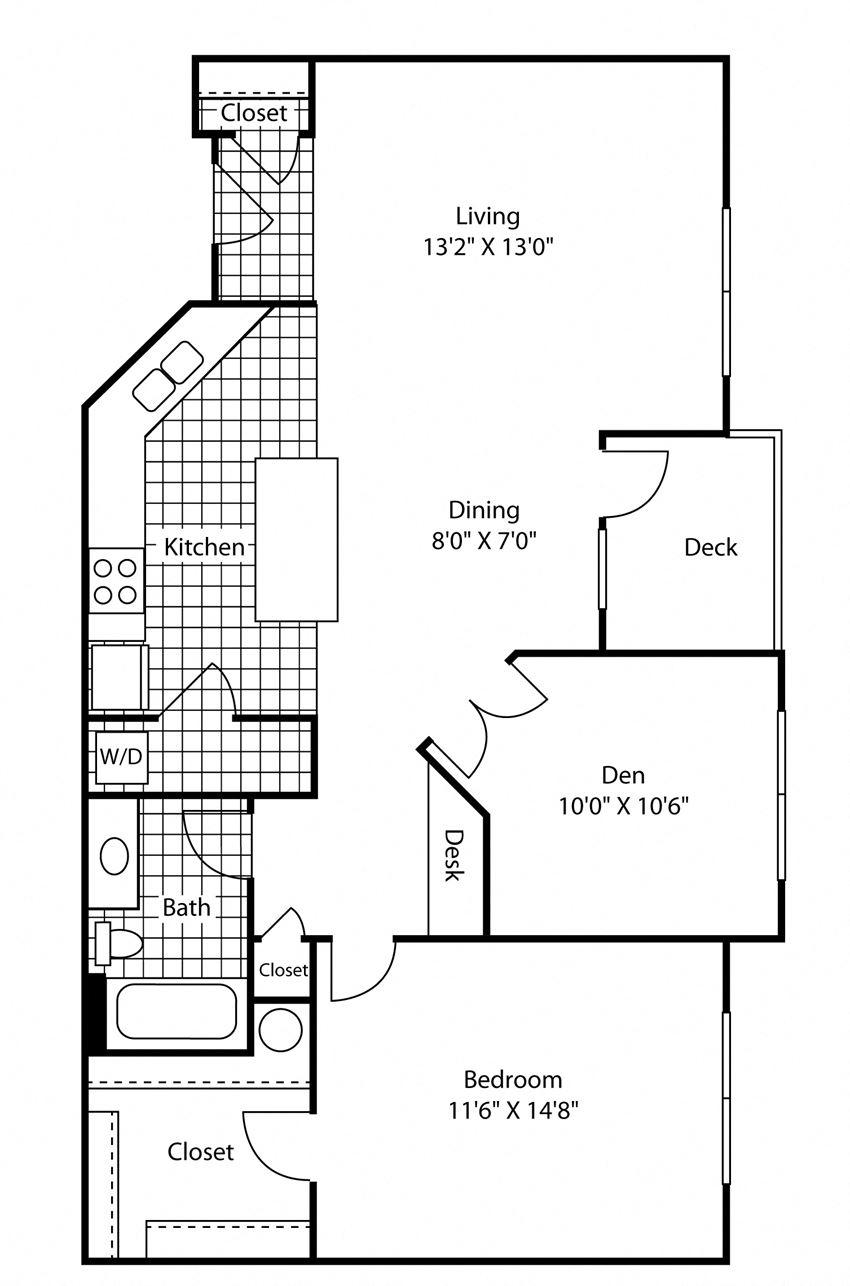 1 Bed - 1 Bath 904 sq ft Floor Plan at Bella Terra Apartments, Mukilteo, Washington
