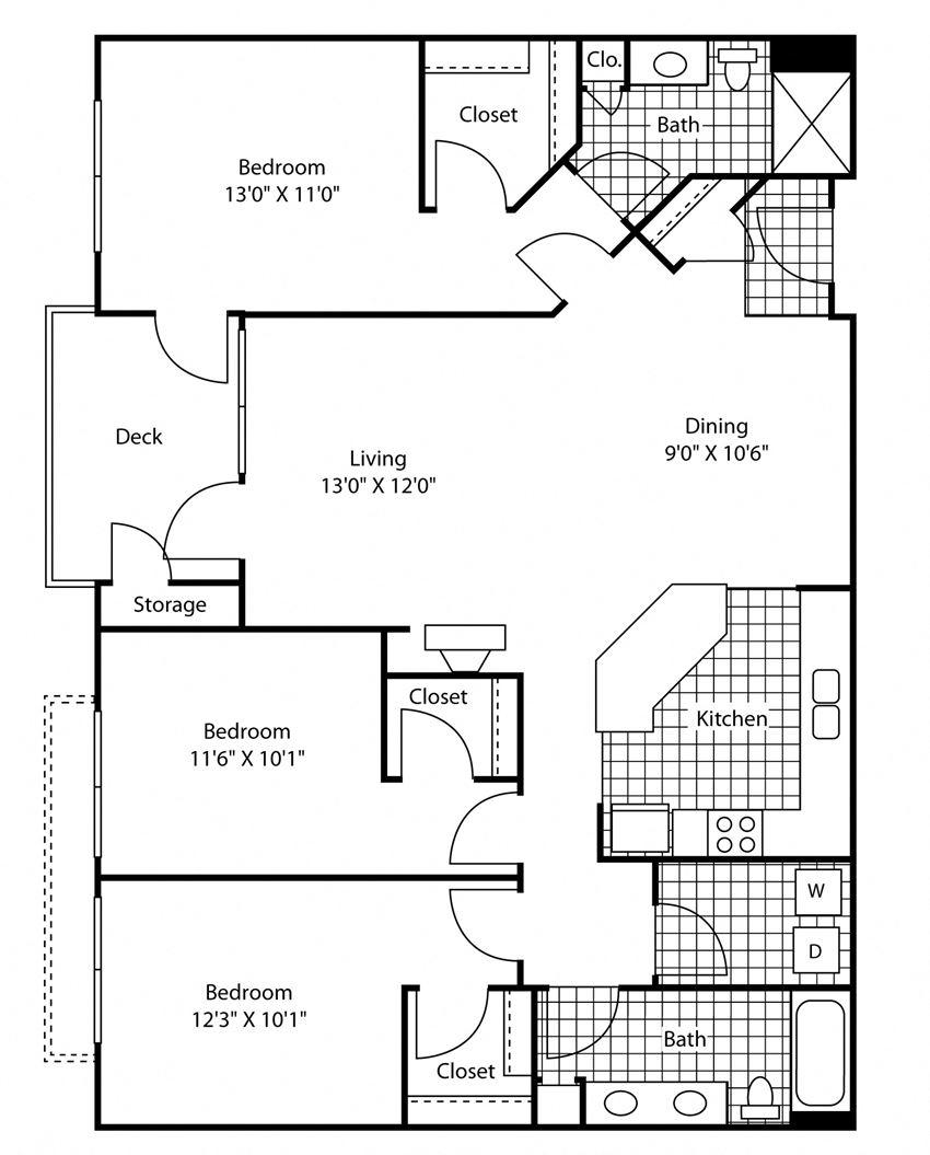 3 Bed 2 Bath Floor Plan at Bella Terra Apartments, Mukilteo