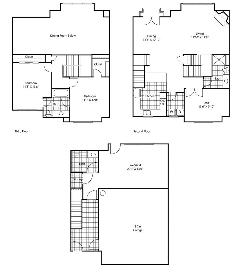 3 Bed, 2 Bath Floor Plan at Bella Terra Apartments, Washington
