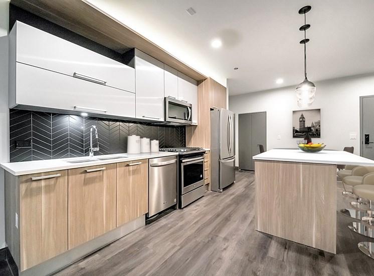 bright, full functioning kitchen