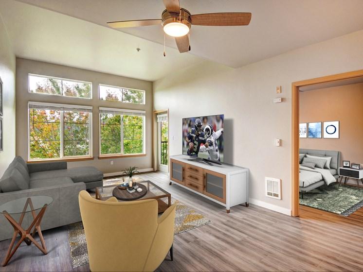 9 foot ceilings and hardwood floors