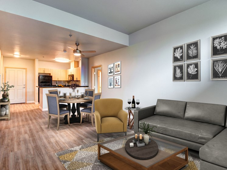 open concept kitchen into living room