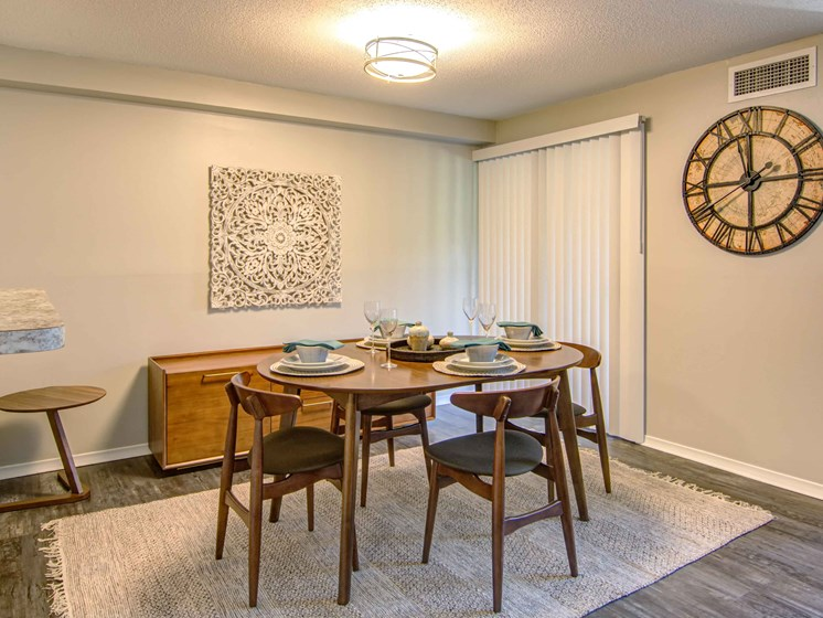 dining room with modern table and chairs