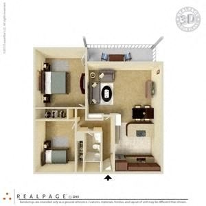 2 Bed, 1 Bath, 906 square feet floor plan 3d furnished