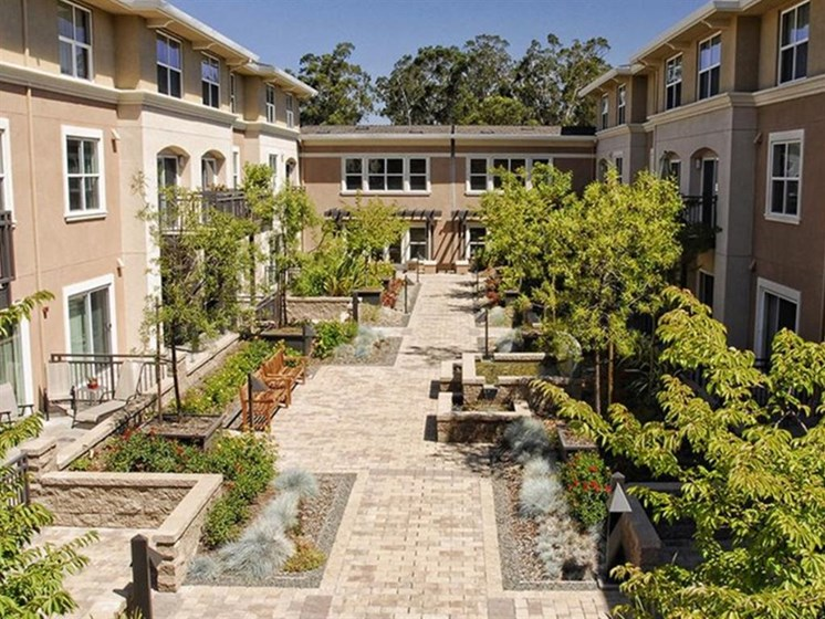 Courtyard Gardens featuring Fountains and Seating Areas