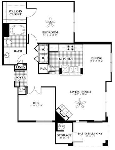 1 bed 1 Bath 975 square feet Calm + Den floor plan