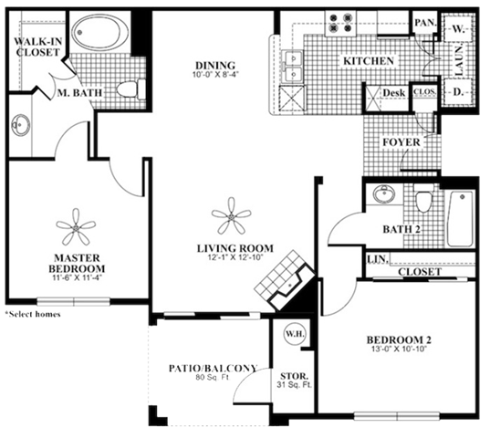 2 bed 2 Bath 1085 square feet Peace floor plan