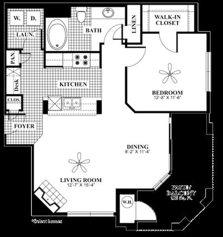 1 bed 1 Bath 850 square feet Renew floor plan