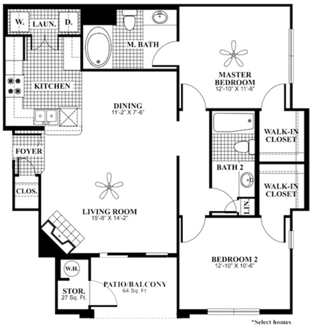 2 bed 2 Bath 1060 square feet Revive floor plan