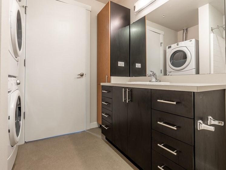 stylish bathrooms with dark countertops