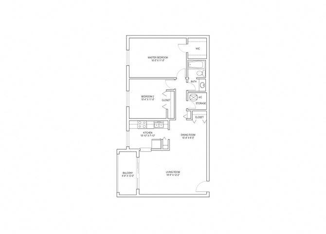 2 Bed, 1 Bath, 971 sq. ft. Dove floor plan
