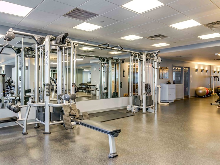 Multipurpose strength training machine in fitness center