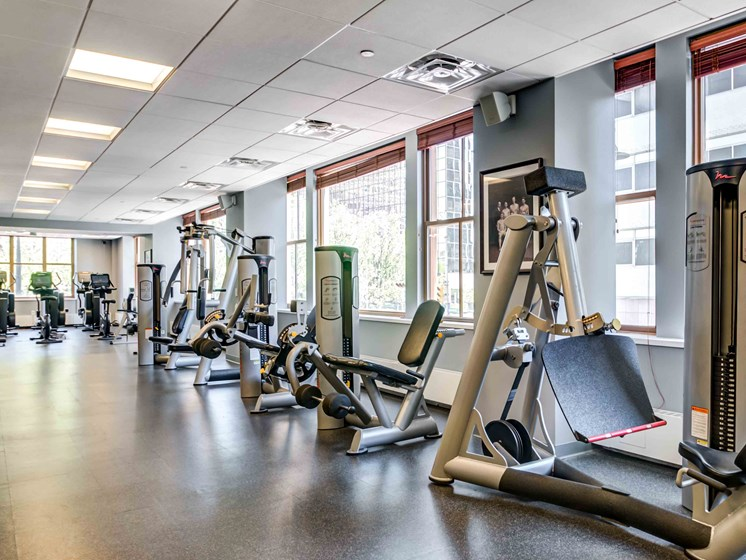Strength training machines in fitness center