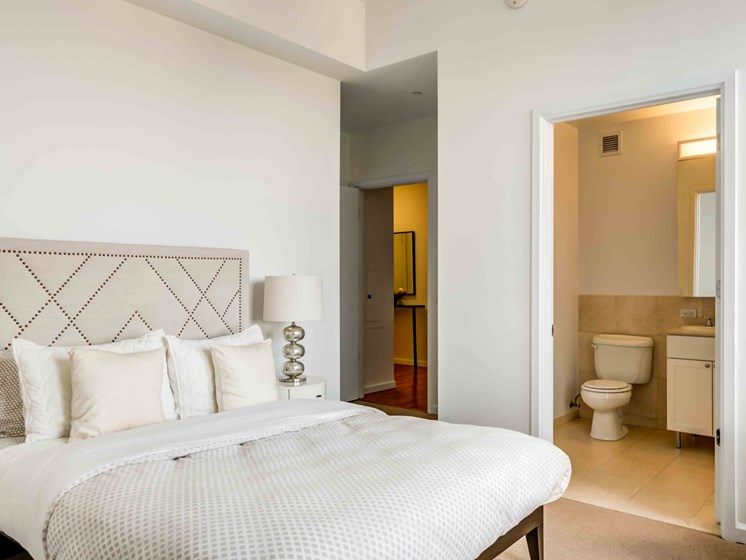 Model apartment bedroom and bathroom