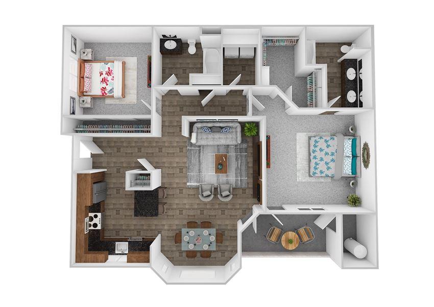 Escape 2 Bedroom 2 Bath 1359 square feet