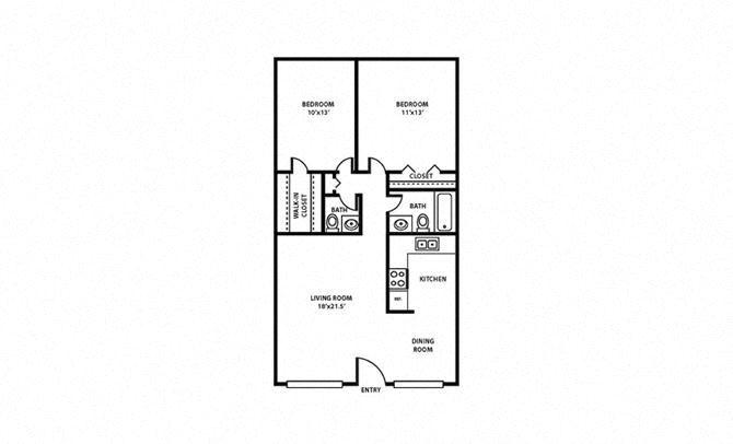 2 Bed, 1.5 Bath, 868 sq. ft. Hibiscus FloorPlan
