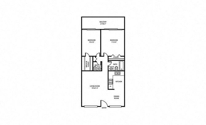 2 Bed, 1.5 Bath, 950 sq. ft. Sea Grape FloorPlan