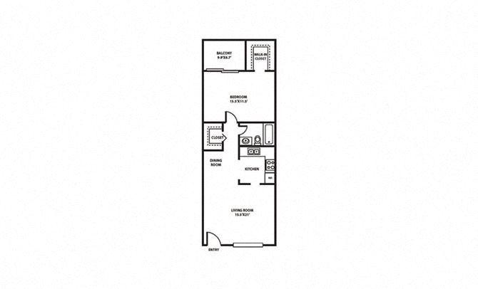 1 Bed, 1 Bath, 670 sq. ft. Surf FloorPlan