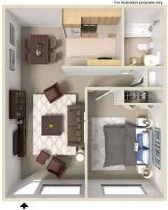1 Bed - 1 Bath |700 sq ft Floorplan at Fernwood Grove Apartments