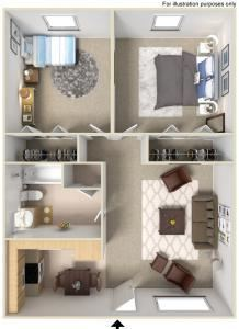 2 Bed - 1 Bath |920 sq ft Floorplan at Fernwood Grove Apartments