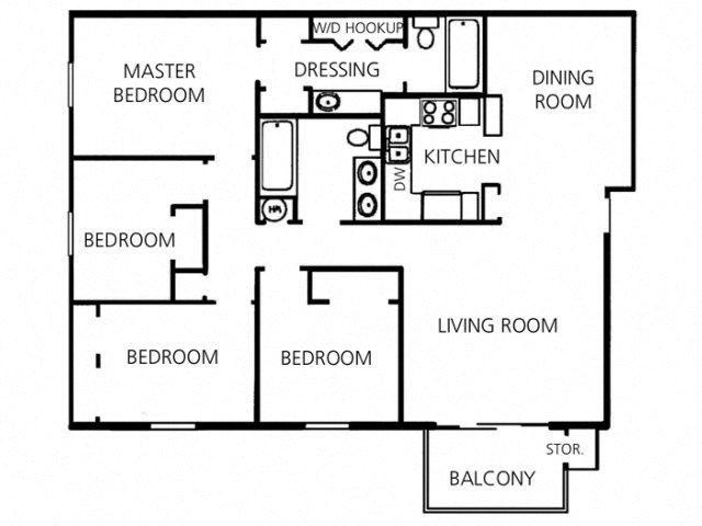 4 Bed - 2 Bath |1600 sq ft floorplan