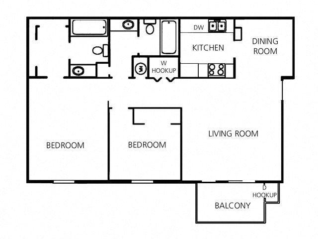 2 Bed - 2 Bath |1000 sq ft floorplan