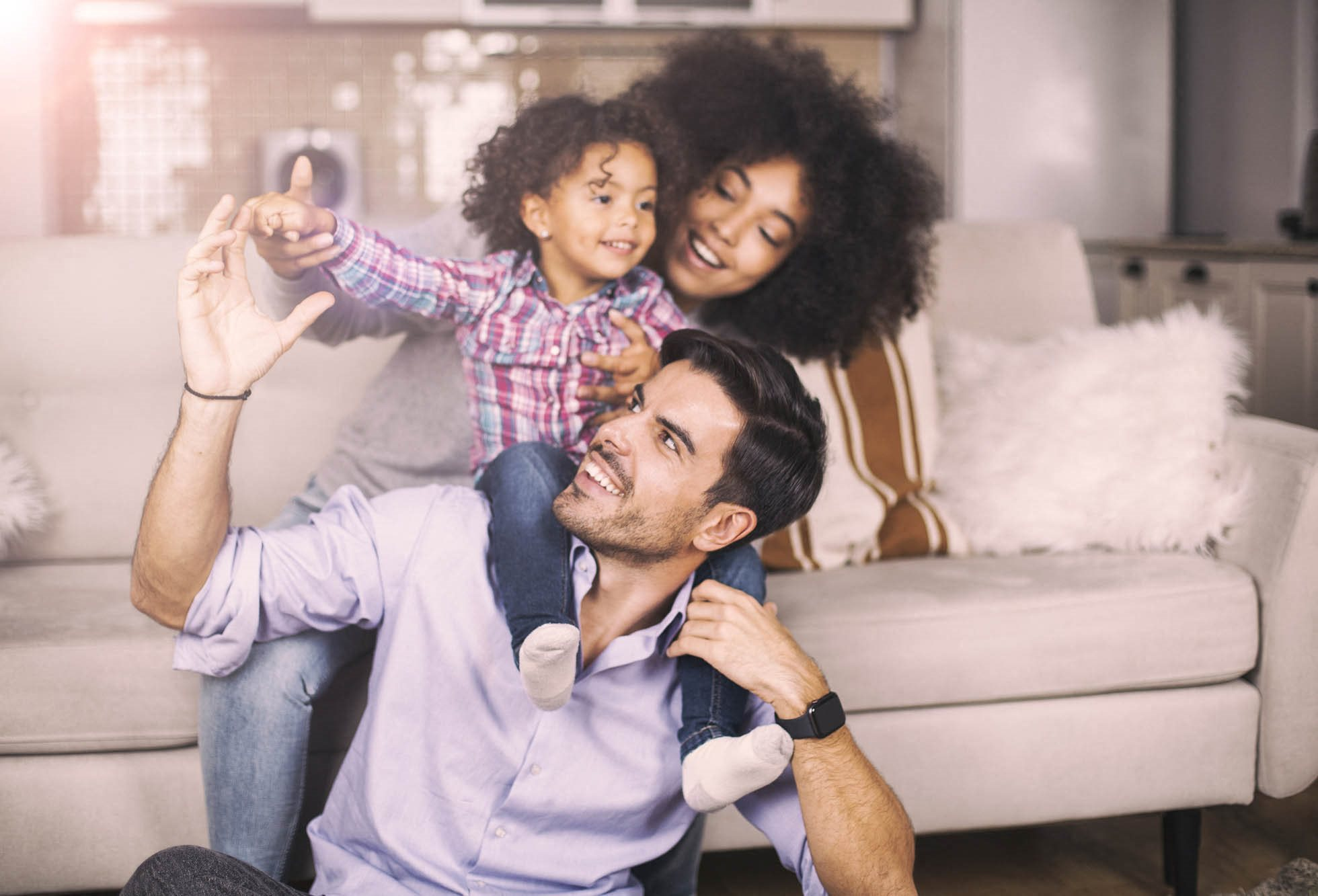 stock image- family in living room