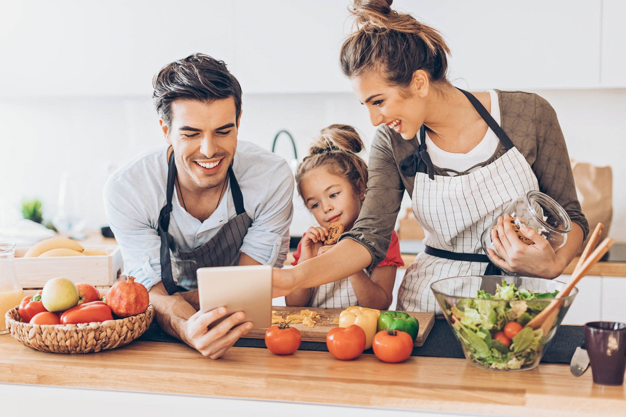 stock image- Family cooking