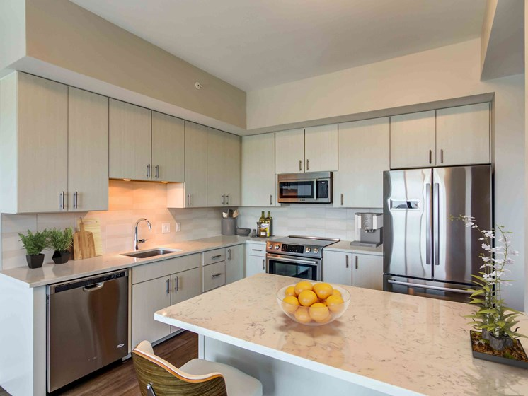 penthouse kitchen with stainless steel appliances and white cabinets