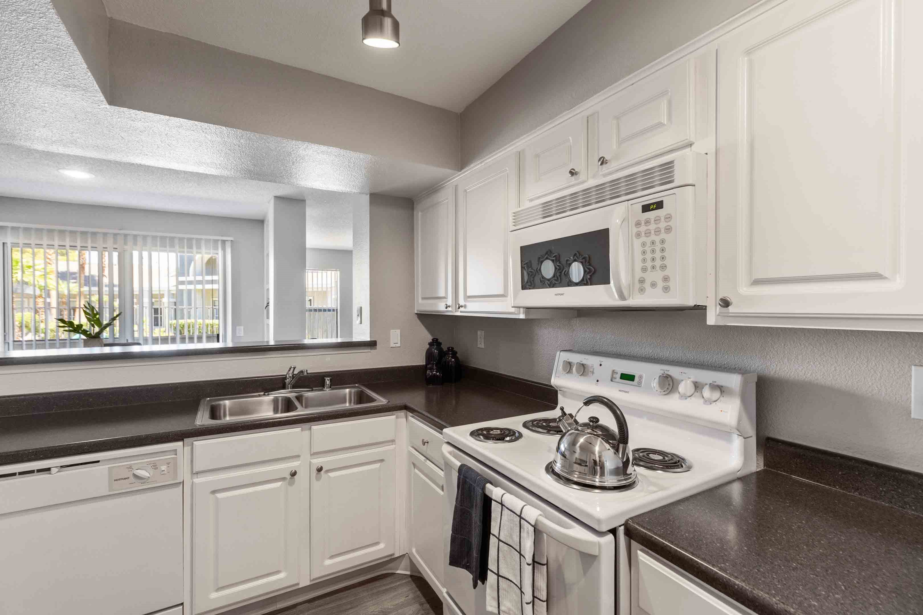 Updated white cabinets and white appliance package
