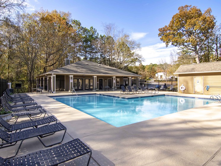 pool seating at Brook Valley Apartments, Douglasville, GA