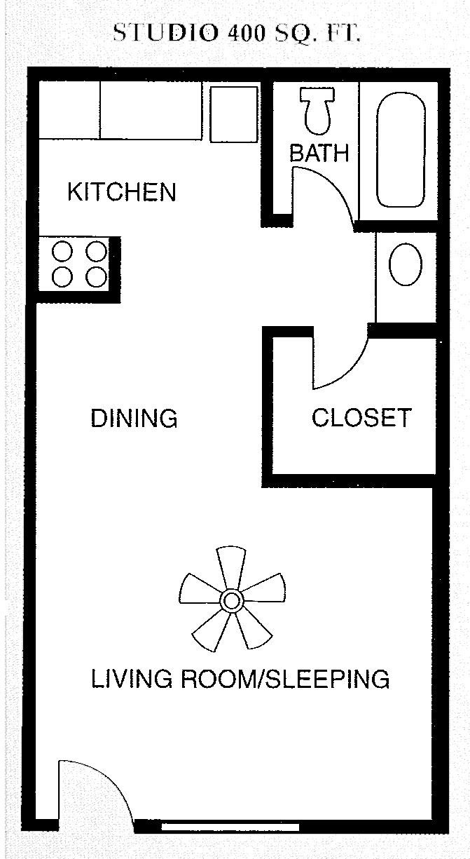 Studio 400 square feet floor plan