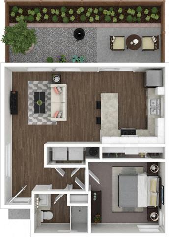 1 Bed 1 Bath 633 square feet 3d furnished floor plan 1 Story Duplex