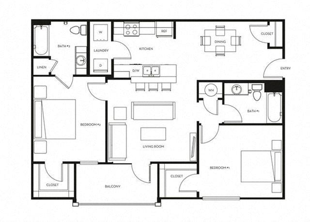 2 Bed, 2 Bath, 1049 sq. ft. B2