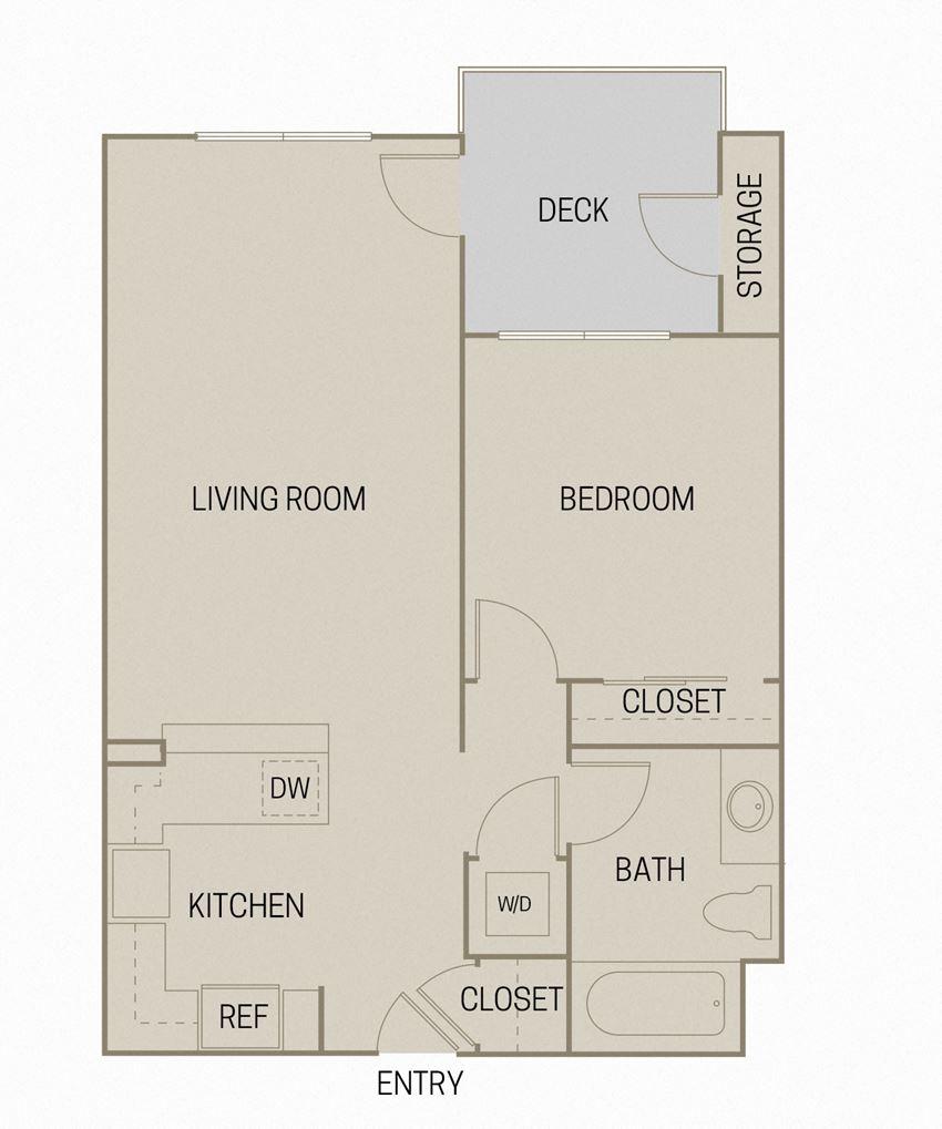 1 bed 1 Bath 712 square feet floor plan A1B