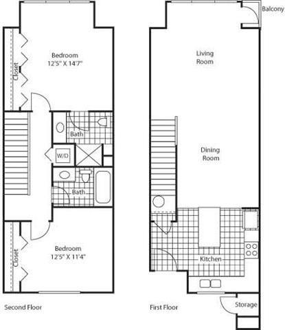 2 Bed 2 Bath Floor Plan at Bella Terra Apartments, Mukilteo, 98275