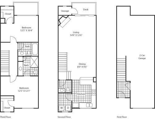 2 Bed 2.5 Bathroom Floor Plan at Bella Terra Apartments, Washington, 98275