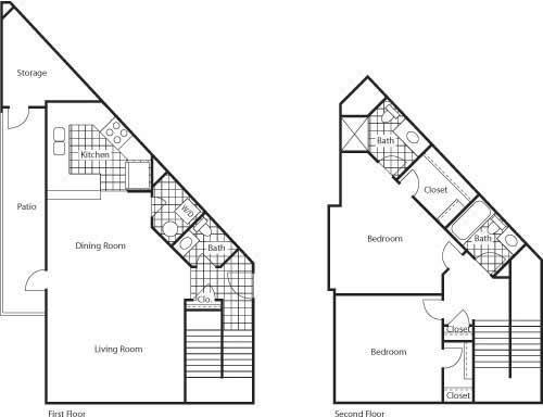 Florence 1150 2 Bed 2.5 Bathroom Floor Plan at Bella Terra Apartments, Mukilteo, WA, 98275