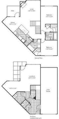 Florence 1438 2 Bed 2.5 Bathroom Floor Plan at Bella Terra Apartments, Mukilteo, WA