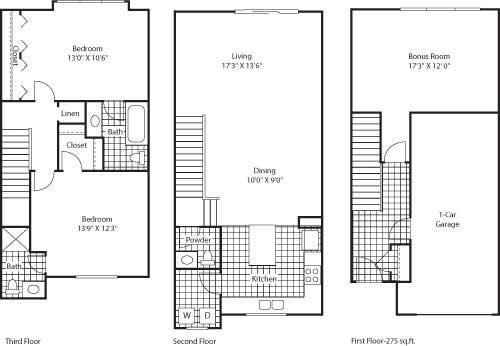 Florence 1439 2 Bed 2.5 Bathroom Floor Plan at Bella Terra Apartments, Mukilteo, 98275