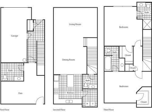Florence 1461 2 Bed 2.5 Bathroom Floor Plan at Bella Terra Apartments, Mukilteo, Washington
