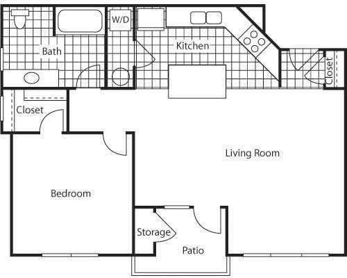1 Bed - 1 Bath |712 sq ft - Naples 712 Floorplan at Bella Terra Apartments